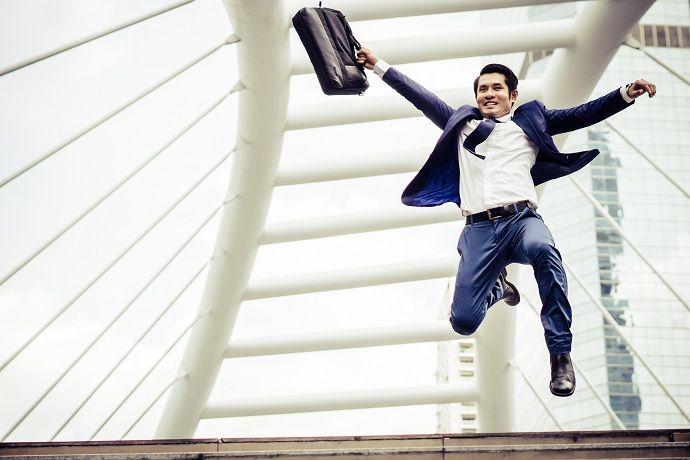 Job Male Jump Happily