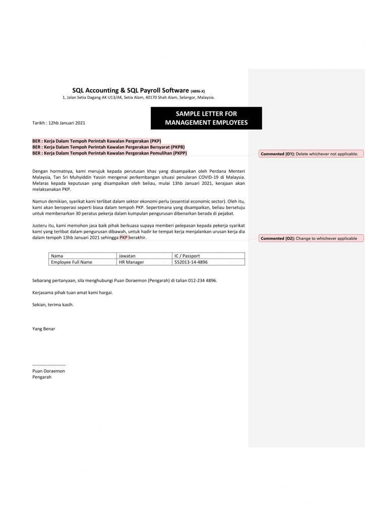 sample MCO 2.0 letter for management employees