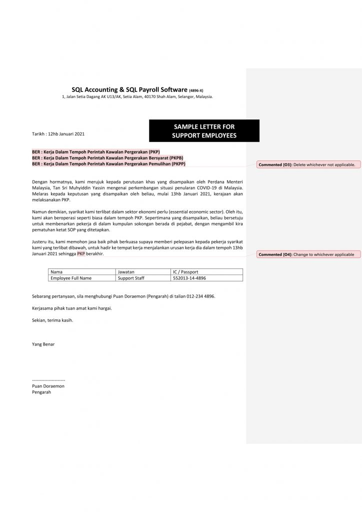 sample MCO 2.0 letter for support employees
